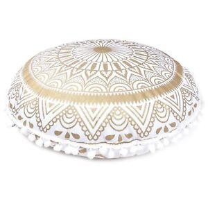 "32"" New Round Cushion Cover Indian White Gold Mandala Floor Pillow Meditation"