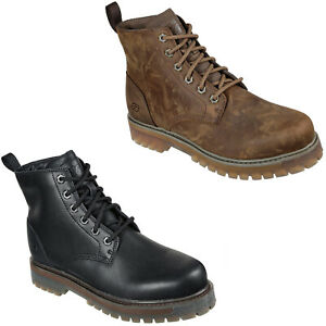 Skechers Mens Winter Boots Leather Rugged Lace Up Memory Foam Ankle Shoes