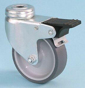 Castors/Wheel 50KG Single Bolt Fixing Rubber Swivel/Braked Castor 50mm x 18mm