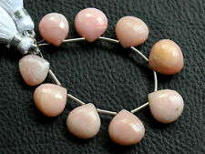 Natural Pink Opal Faceted Heart Briolette Semi Precious Gemstone Beads 005