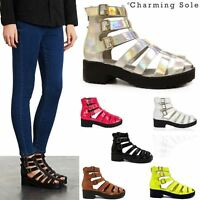 Ladies Womens High Heel Strap Cut Out Ankle Boots Chunky Gladiator Sandals Shoes