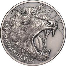 1 Ounce Silver Antique High Relief Wildlife upclose Tasmanian Devil Niue 2019