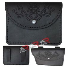 Brand New AAR Black Real Leather Embossed Kilt Pouch/Celtic Embossed Design