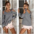 ZAFUL Women Tie Cold Shoulder Check Plaid Shirt Flare Long Sleeve Tops Blouse