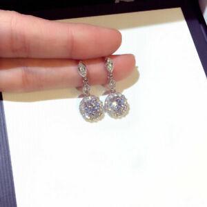 Fashion Round Zircon Diamond 925 Earrings Drop Dangle Women Engagement Jewelry