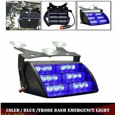 Blue 18-LED Auto Car Dash Windshield Emergency Warning Strobe Flashing Light 12V