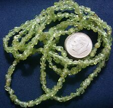 Natural peridot chip 3-4mm nuggets semiprecious beads 34 inches 300+ beads bs332