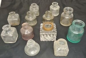 Vintage Glass Ink Wells Swirl Cube Oval Aqua Pink Lot of 12 -New England Estate