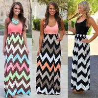 Plus Size Women Summer Sleeveless Long Maxi Dress Party Holiday Evening Sundress