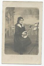 BP297 Carte Photo vintage card RPPC Femme guitare banjo musique