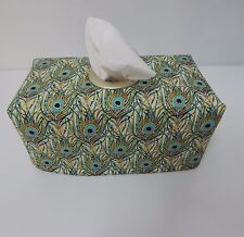 Peacock Feathers Metallic Gold Tissue Box Cover With Circle Opening - Gorgeous!