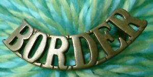 WW1 BORDER Title - BORDER Shoulder Title Badge BRASS 2 Lugs Antique ORIGINAL