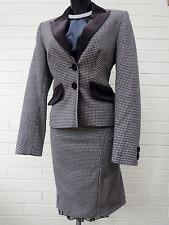KAREN MILLEN 12 Cashmere Dogtooth Skirt Suit Riding Downton Hunting Equestrian