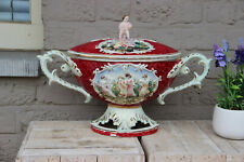Large italian capodimonte marked porcelain centerpiece lidded bowl putti