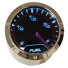 """Fuel level Gauge 2"""" / 52mm, black faced chrome bezel , blue LED back light"""