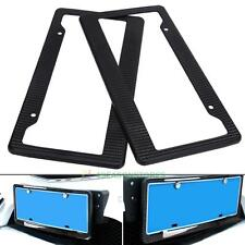 2Pcs Auto Car Truck License Plate Snap Carbon Fiber Fit Frames Tag Cover Black