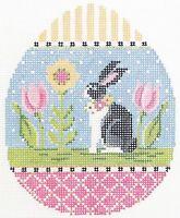 Needlepoint Handpainted Kelly Clark EASTER Rabbit Egg 4x5