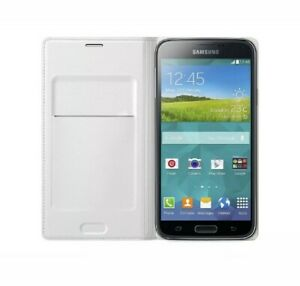 SAMSUNG EF-WG900BWEGWW White Flip Wallet Case Cover for G900 Galaxy S5 Genuine