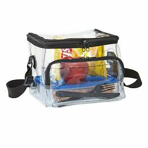 Lunch Bag with Adjustable Strap and Front Storage Compart Lunch Box Medium Clear