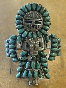 LARRY MOSES BEGAY SUNFACE KACHINA STERLING SILVER AND TURQUOISE BRACELET