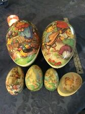 "VINTAGE EASTER ""GERMANY"" PAPER MACHE EGGS LOT FROM 10"" L, TIN, BOX"
