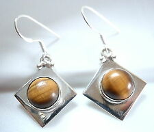 Tiger Eye Earrings 925 Sterling Silver Round Sphere Square Cube Dangle Drop New