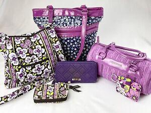 Vera Bradley Purple Floral Quilted Handbags- Lot of 6