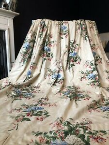 BESPOKE COLEFAX & FOWLER Floral Chintz Pink/ Blue/ Cream  INTERLINED Curtains
