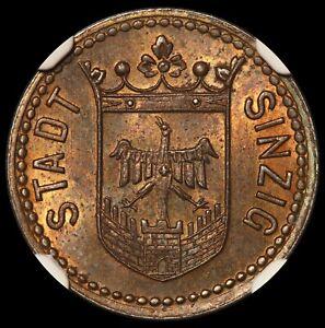 1919 Germany Stadt Sinzig 5 Pfennig Zinc Notgeld Coin Lamb-487.1 - NGC MS 63