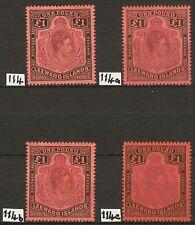Leeward Is GVI 1938-51 Pound values x (4) SG 114, 114a, 114b, 114c Mint cat 500