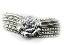 18k white gold plated flower CZ woman bracelet BL-A180