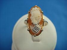 NICE 14K YELLOW GOLD CAMEO WITH DIAMOND LADIES VINTAGE RING 4.7 GRAMS SIZE 5 1/2