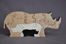 Rhino Rhinoceros 3D Zoo Animal Wooden Puzzle Amish Scroll Saw Toy
