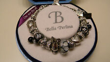 Bella Perlina WISH~DREAM Silver Charm Bracelet Black Beads $125 NIB + FREE GIFT!