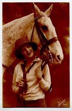Ragazza in tenuta da Maneggio Cavallo Horse Lady RP PC Vera Foto Viaggiata 1925