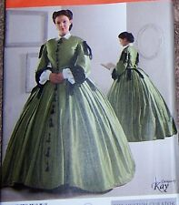 VINTAGE CIVIL WAR style DRESS sz 16 18 20 24 pattern Stunning in Satin  silk too