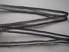 GALON DENTELLE ancienne, AU METRE , larg.10 mm, métallisé NOIR / ARGENT, réf 498