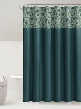 Teal Steel Blue Faux Silk Fabric Shower Curtain Embossed Floral Vine Design