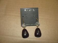 KENNETH JAY LANE GOLD CRYSTAL PURPLE STONE HOOK PIERCED DANGLE EARRINGS NEW