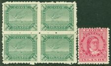 EDW1949SELL : COOK ISLANDS 1893-1902 Sc #12 Also #27 Blk of 4 VF Mint OG Cat $75