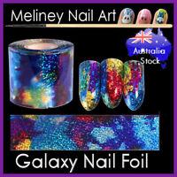 Galaxy Nail Art Foils Holographic Sticker Transfer Nail Tips Rainbow Meliney