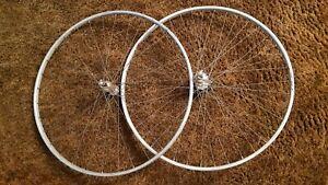 """2 Vintage Sprint Wheels 27"""" (630mm) Cerchio Fiamme alloy rims Campagnola QR hubs"""