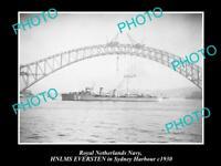OLD LARGE HISTORIC PHOTO OF ROYAL DUTCH NAVY SHIP HNLMS EVERSTEN IN SYDNEY 1930
