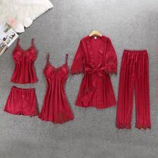 Ladies Sexy Silk Satin Pajama Set Lace Sleepwear Home Wear Nightwear For Women