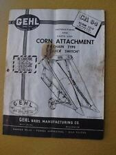 GEHL CORN ATTACHMENT INSTRUCTIONS PARTS LIST TRACTORS FARM 1955 CHAIN TYPE