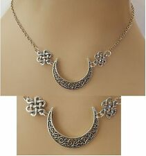 Celtic Moon Pendant Necklace Silver Knot Jewelry Handmade Women Fashion Chain