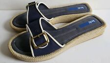 Keds Sandals Slip On Shoes Buckle Womens Sz 9.5 navy blue white canvas flip flop