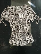 H M Women s Juniors Size 2 Light Pink Animal Print Flowy Blouse Shirt Top 956bb8cfb