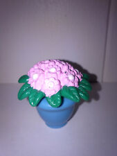 Fisher Price Loving Family Pink Flower Dark Green Foliage in a Blue Pot