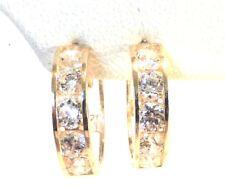 10k/14k GOLD White or Yellow Cubic Zirconia 14/17MM Huggie Earring FREE SHIPPING